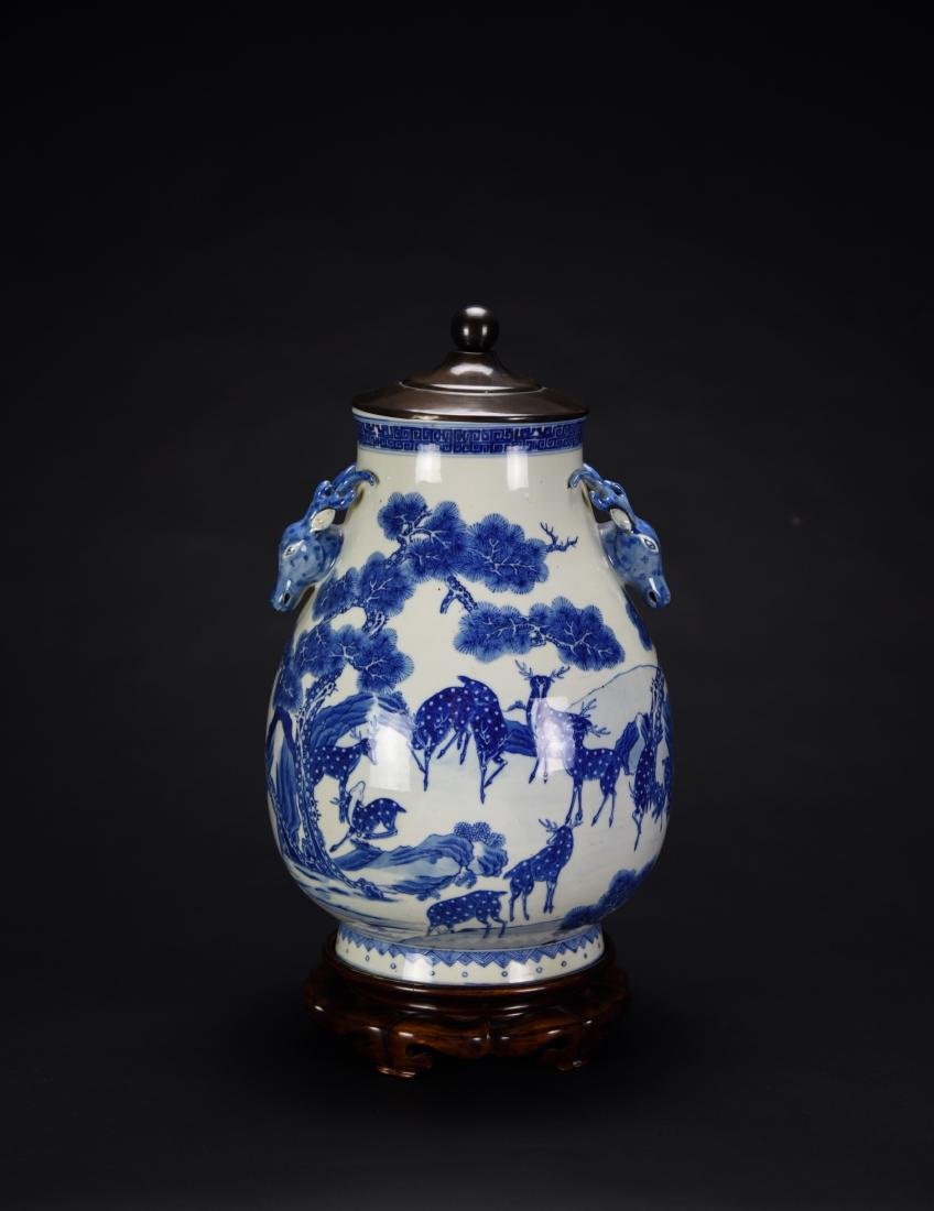 Qing-A Blue And White Deer Head Handle Vase