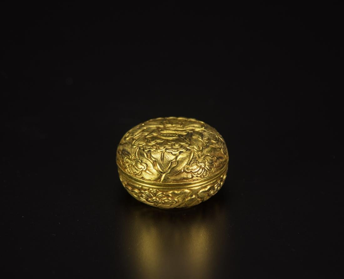 A Gilt Bronze'Flowers'Paste Box And Cover