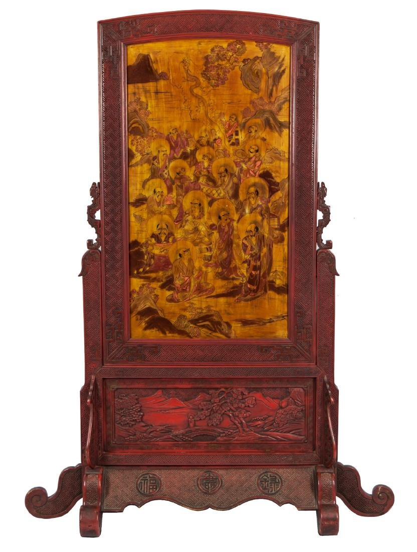 Qing - A Wood Red-Glazed Carved and 16 Louhan Painted