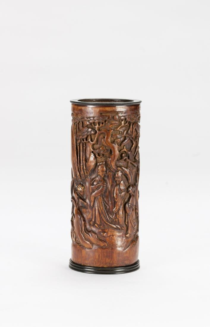 Qing - A Bamboo Carved Figures And Landscrpe Brush Pot