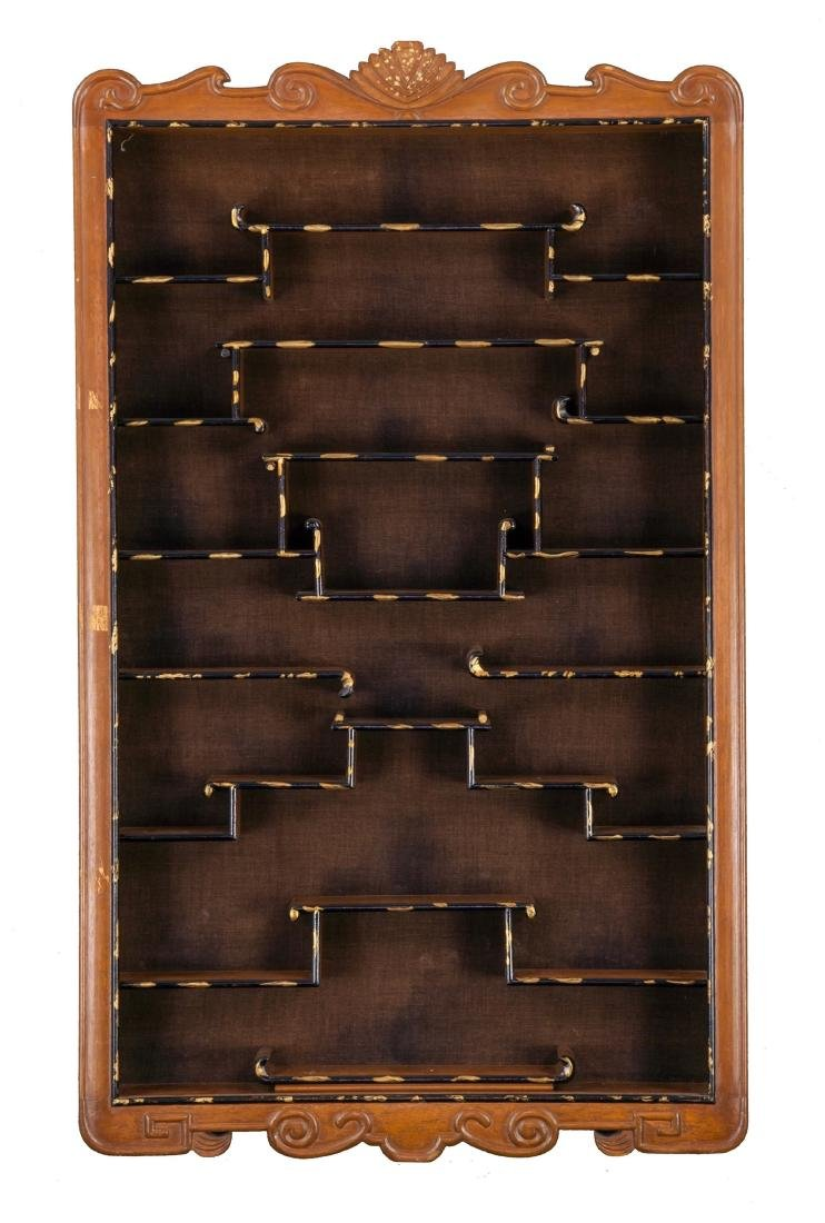 Antiques Ornament Display Wood Cabinet
