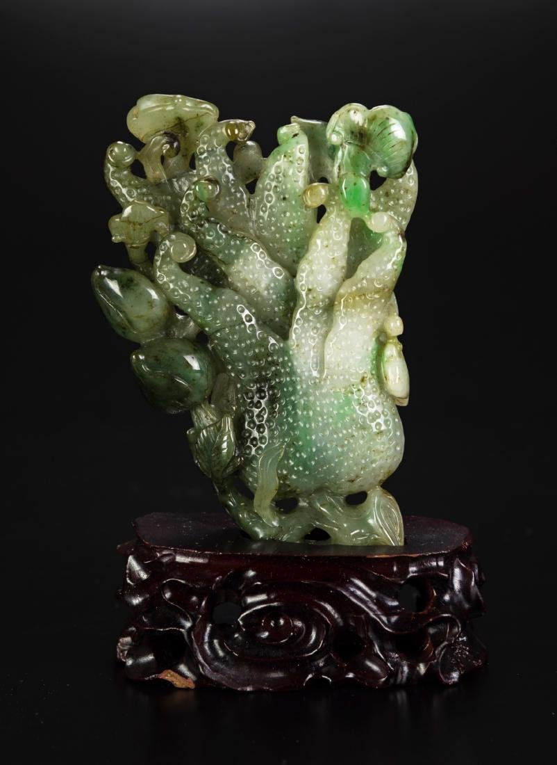 A Jade Carved Flower and Lanzi Statues(wood stand)