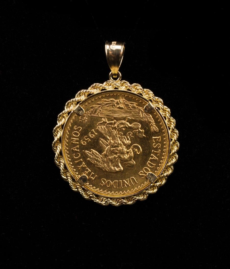 1959 Mexican 15gr Gold Coin Pendant