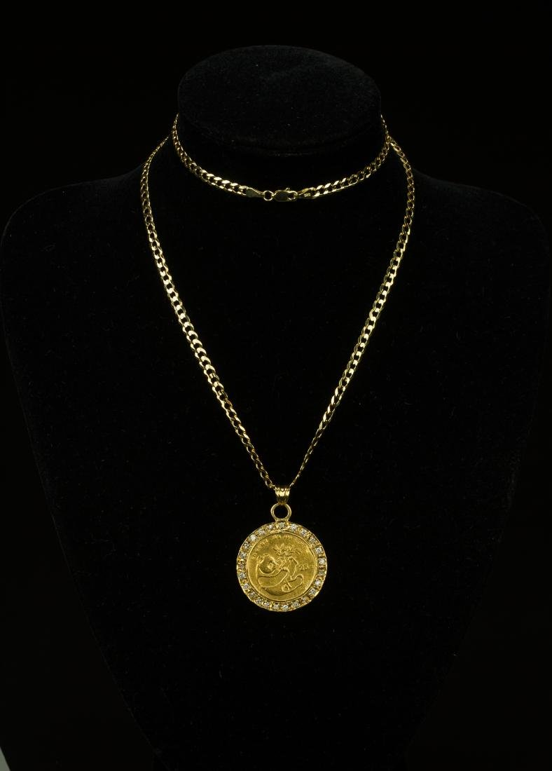 A 1984 Panda 1/4 oz Gold Coin Pendant mounted and with
