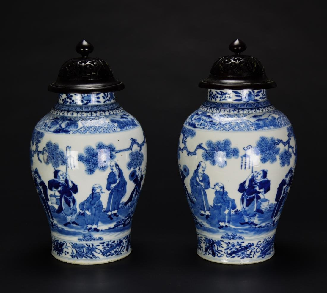 Qing-A Pair Of Blue And White 'Figure' Vase With