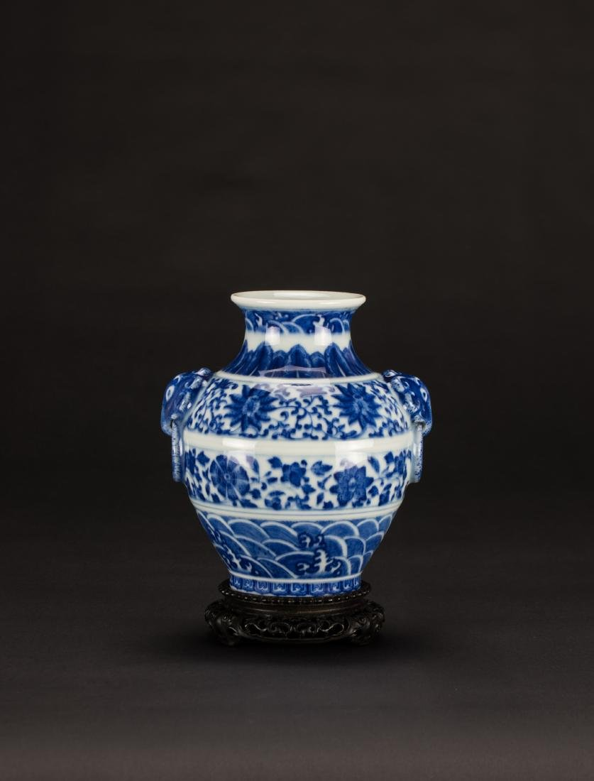 A Blue And White 'Beast' Handle Vase
