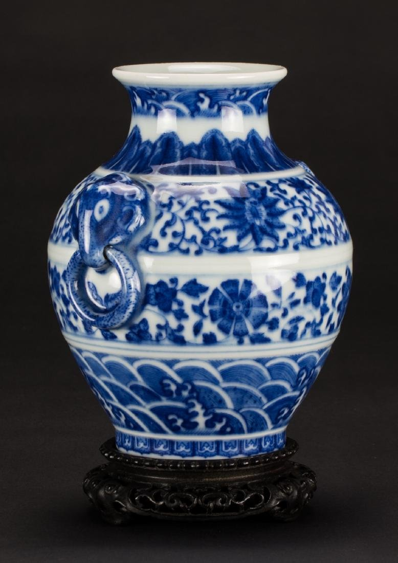 A Blue And White 'Beast' Handle Vase - 2
