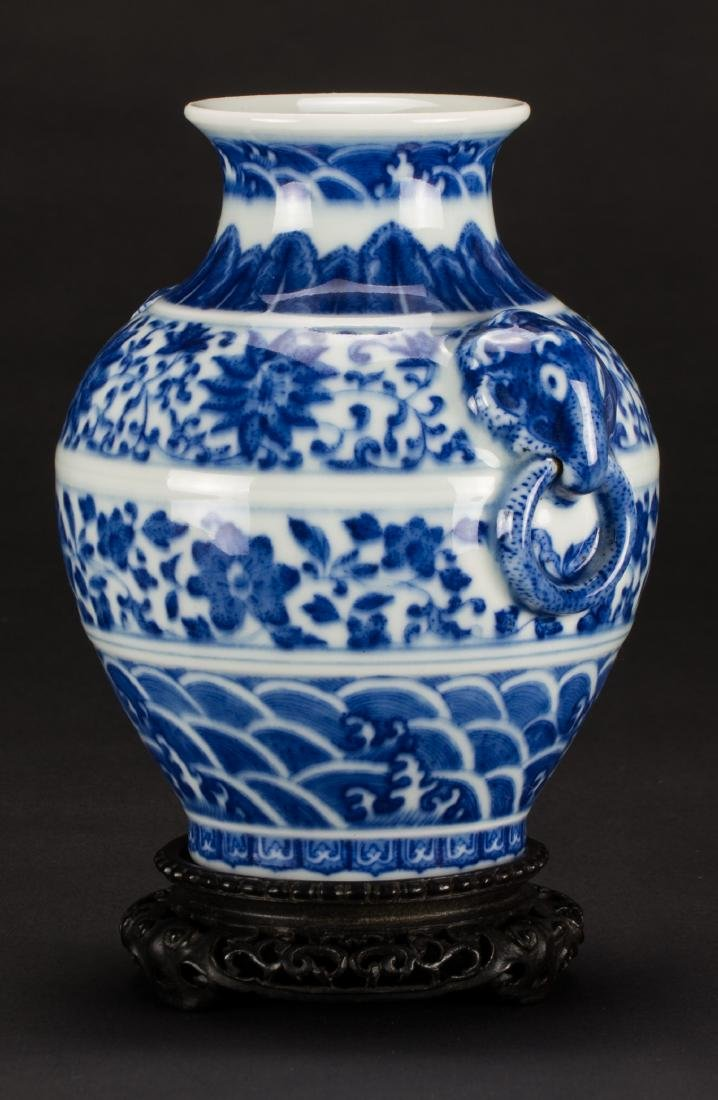 A Blue And White 'Beast' Handle Vase - 3