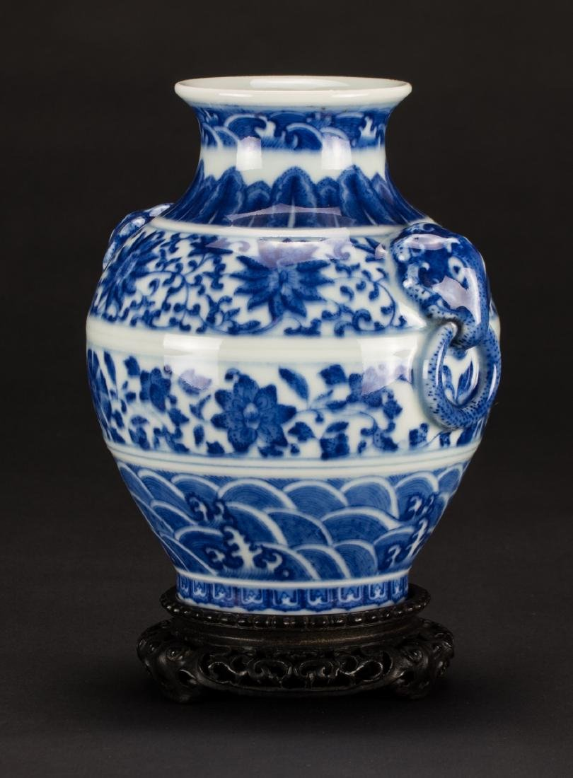 A Blue And White 'Beast' Handle Vase - 4