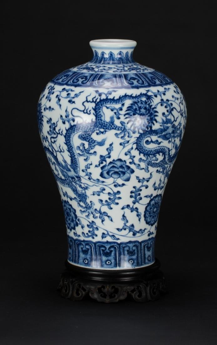 A Blue And White 'Dragon' Vase with Woodstand - 3