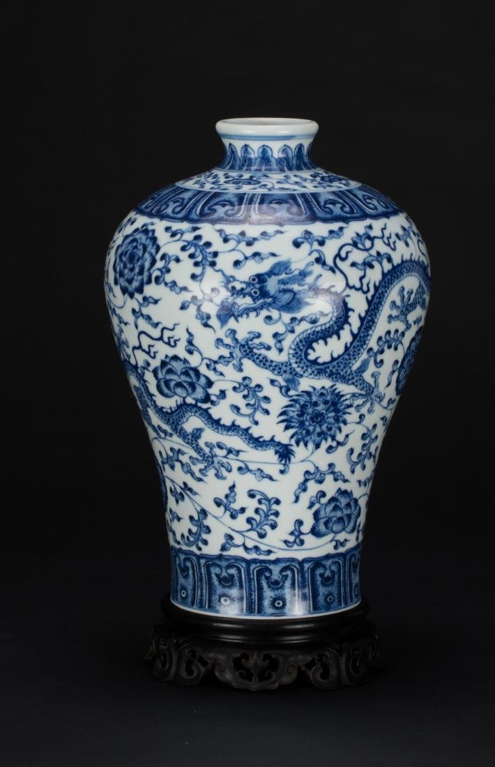 A Blue And White 'Dragon' Vase with Woodstand - 5