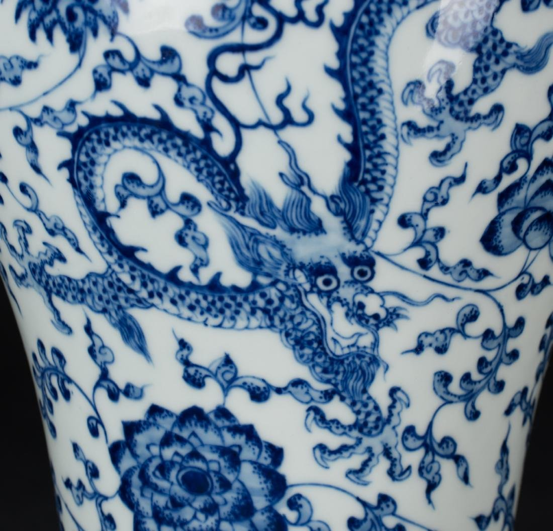 A Blue And White 'Dragon' Vase with Woodstand - 7