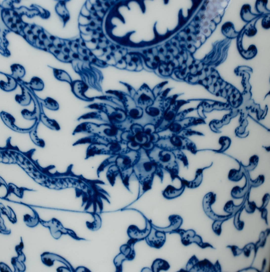 A Blue And White 'Dragon' Vase with Woodstand - 8