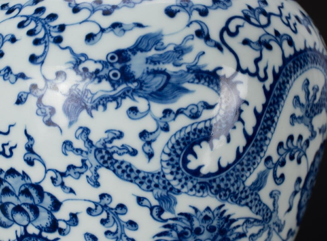 A Blue And White 'Dragon' Vase with Woodstand - 9