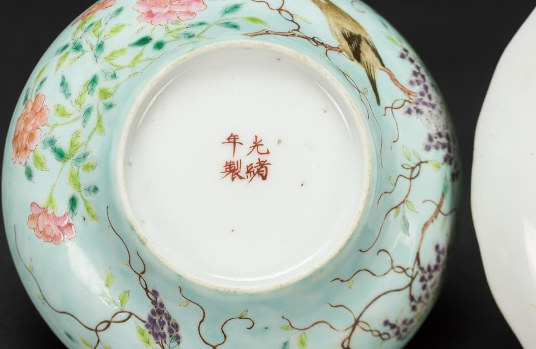 Late Qing/Republic-A Turqoise Ground 'Flowers And - 8