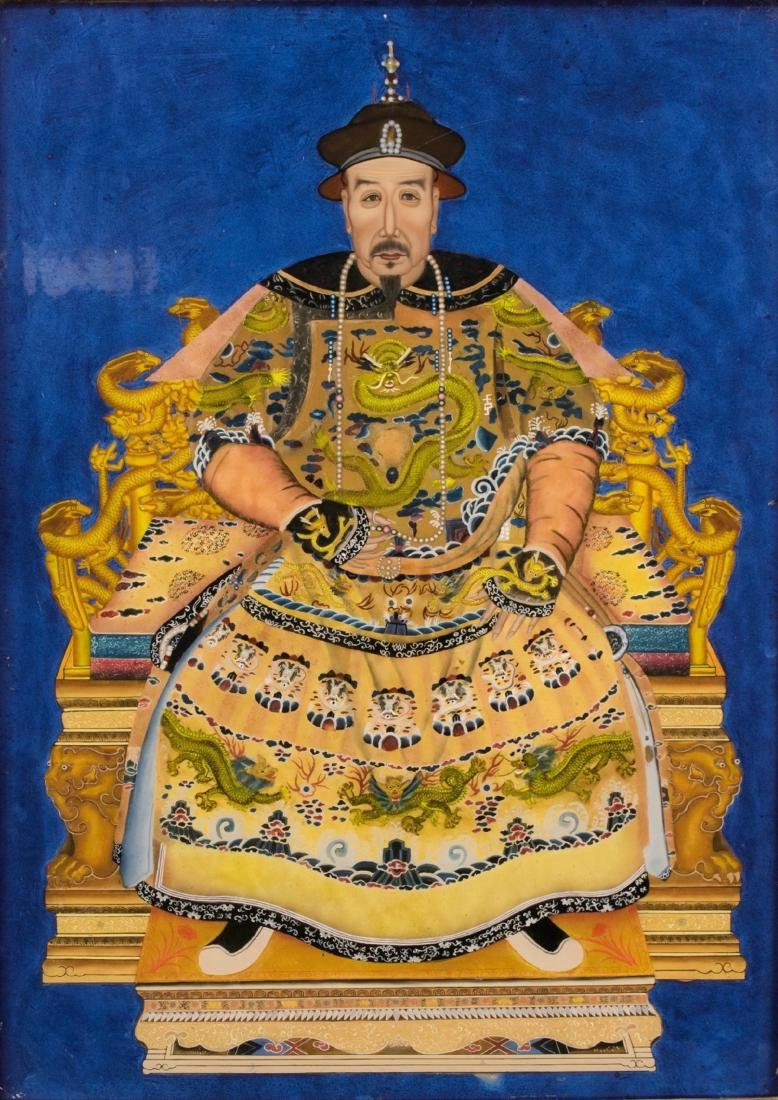 A Pair Of Reverse Glass Painting Of Emperor Qianlong