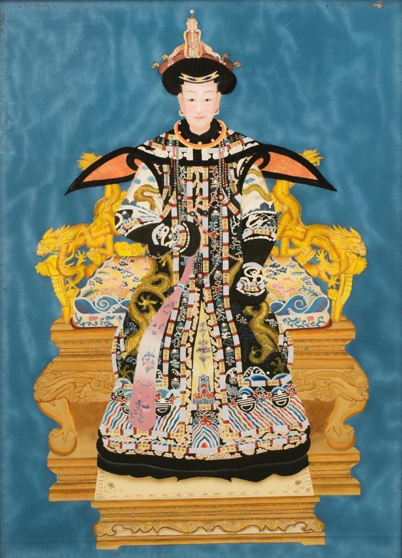 A Pair Of Reverse Glass Painting Of Emperor Qianlong - 7