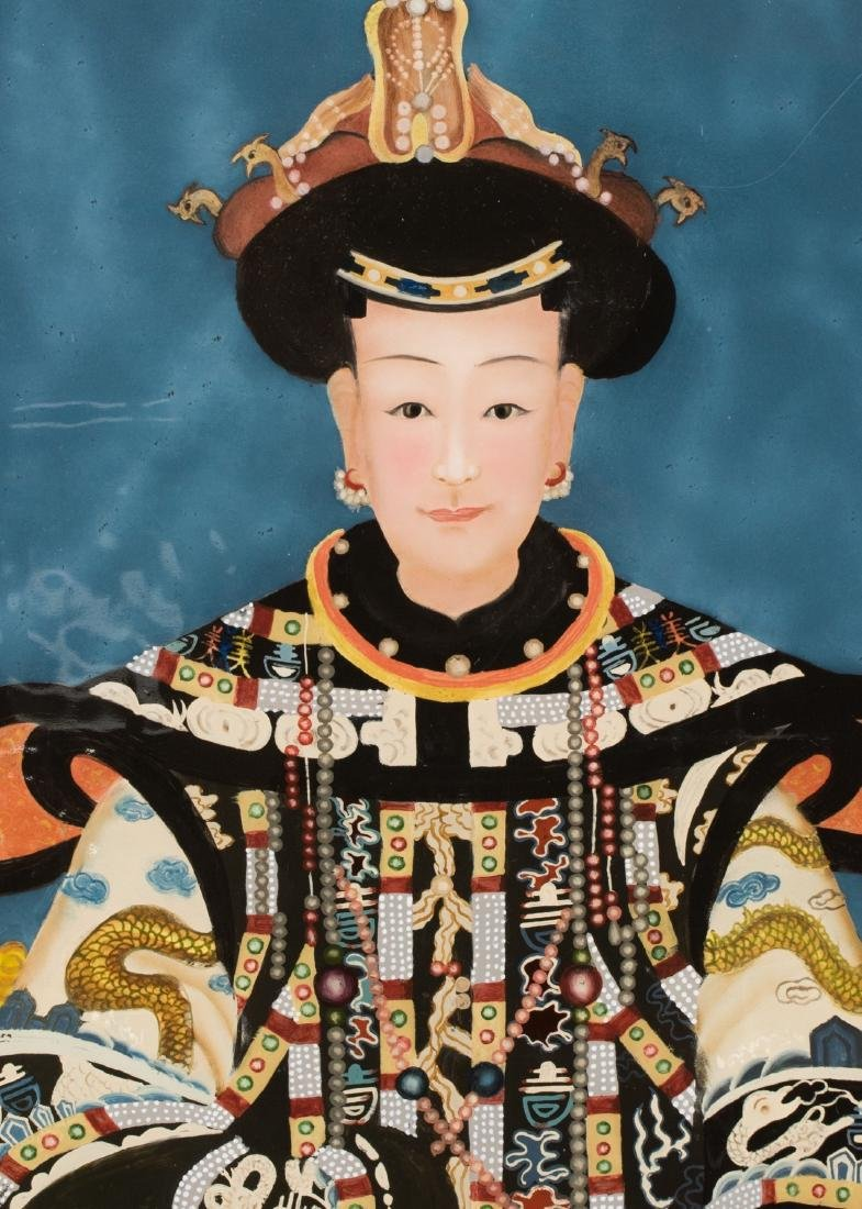 A Pair Of Reverse Glass Painting Of Emperor Qianlong - 8