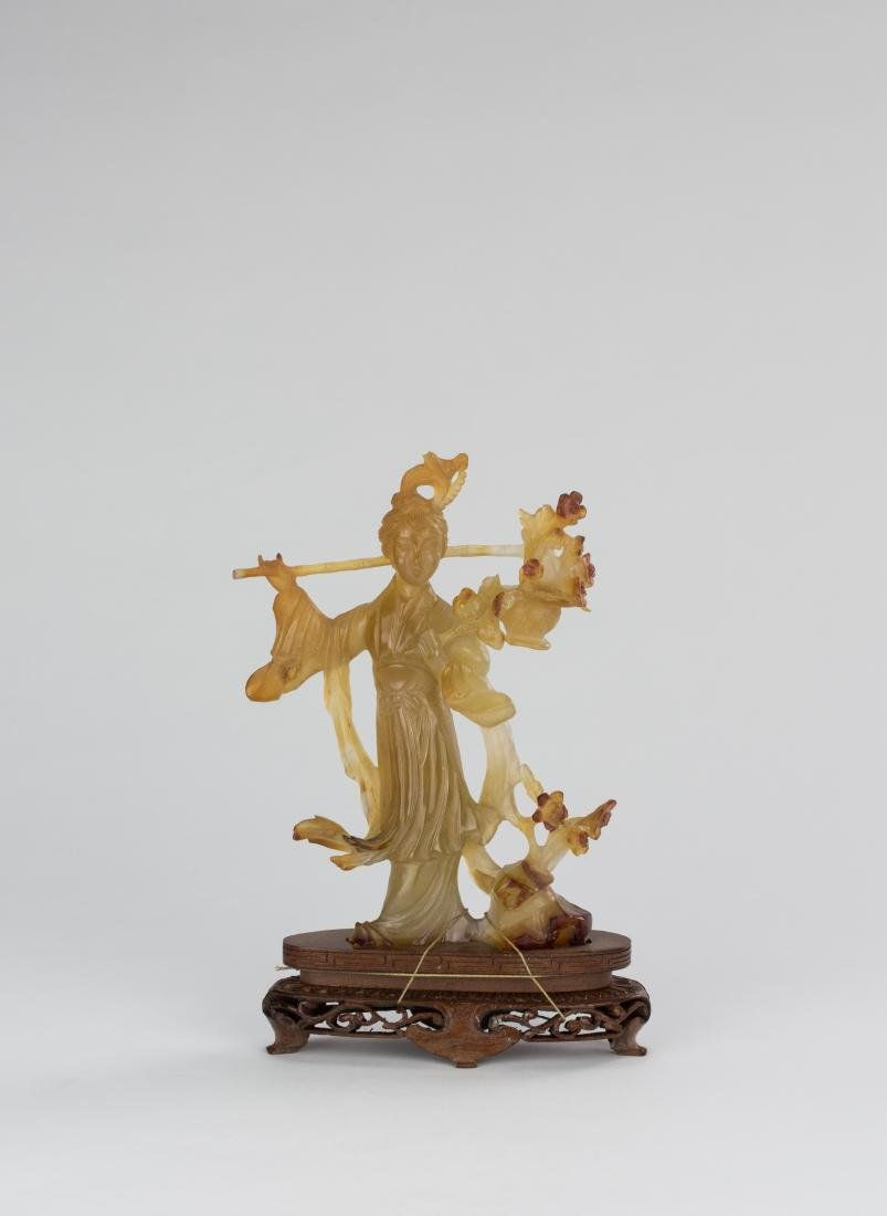 Early 20th Century-An Agate Carved Lady And Plum Tree