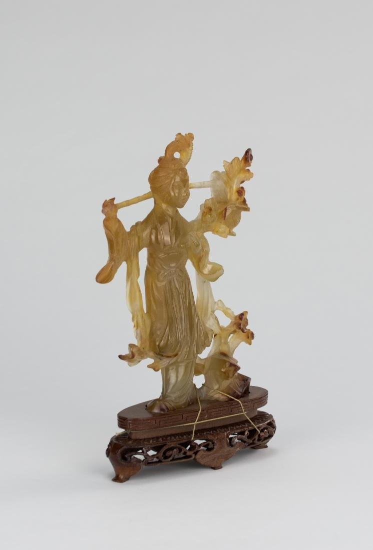Early 20th Century-An Agate Carved Lady And Plum Tree - 2