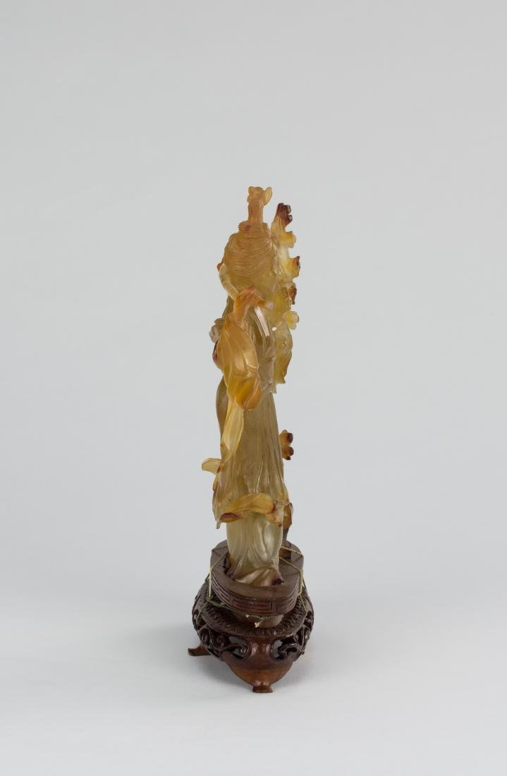 Early 20th Century-An Agate Carved Lady And Plum Tree - 3