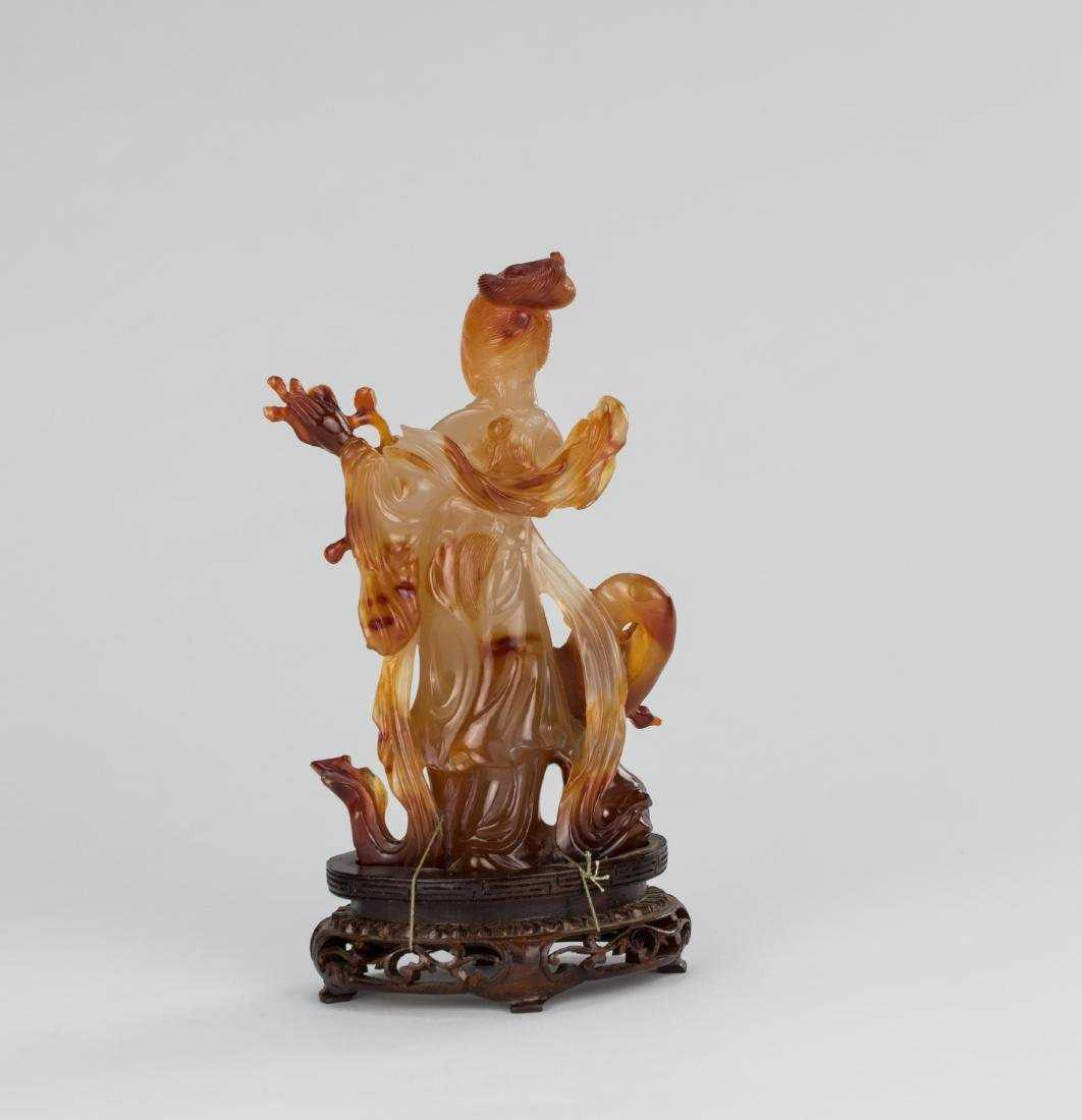 Early 20th Century-An Agate carved Lady and Plum Tree - 5