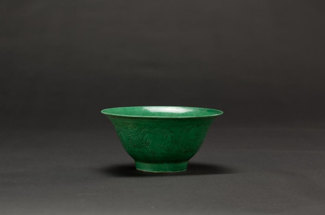 A Green Ground Dragon Bowl'Da Ming Wanli Nian Zhi'