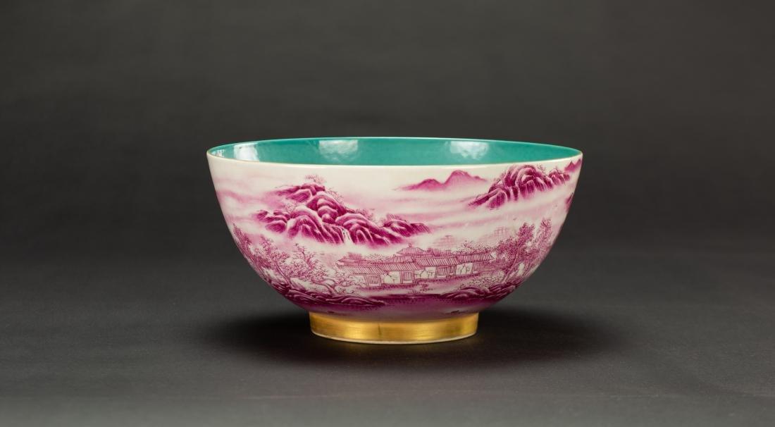 A Roug Glazed'Landscrape' Bowl'Da Qing Qainlong