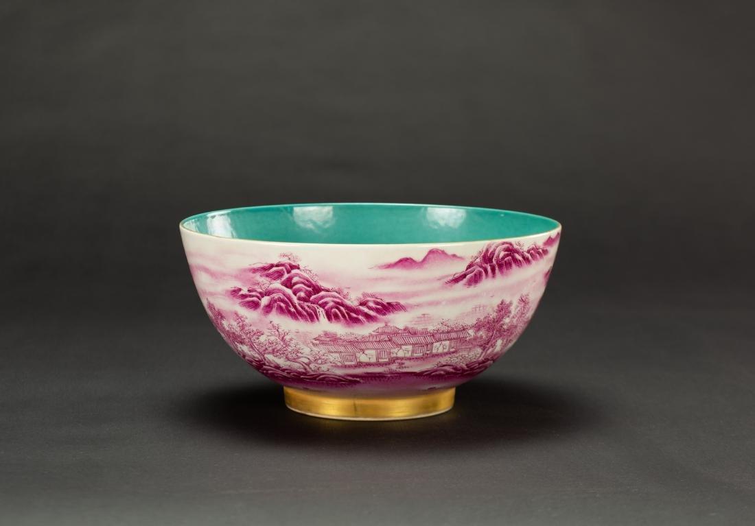 A Roug Glazed'Landscrape' Bowl'Da Qing Qainlong - 2