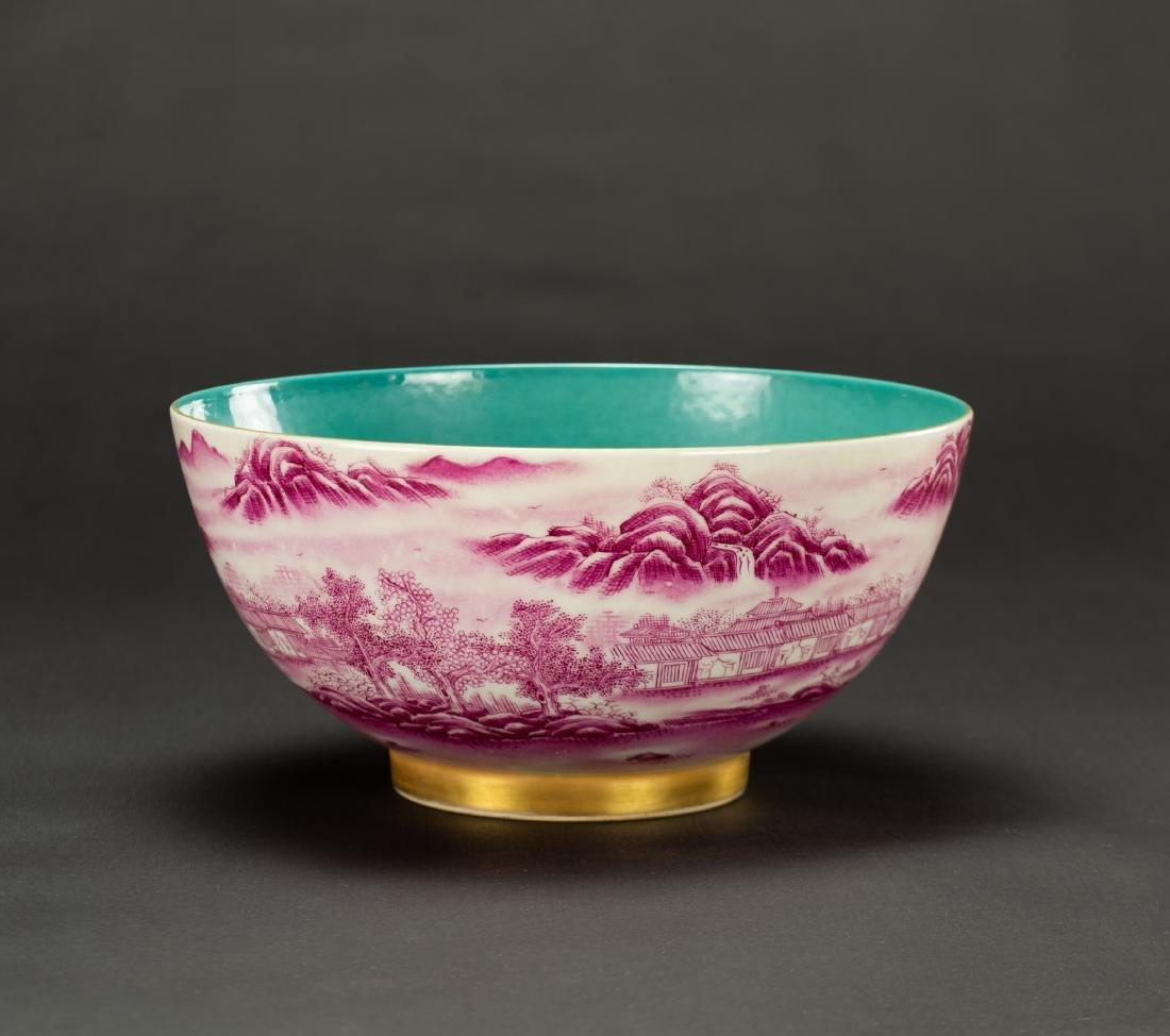A Roug Glazed'Landscrape' Bowl'Da Qing Qainlong - 3