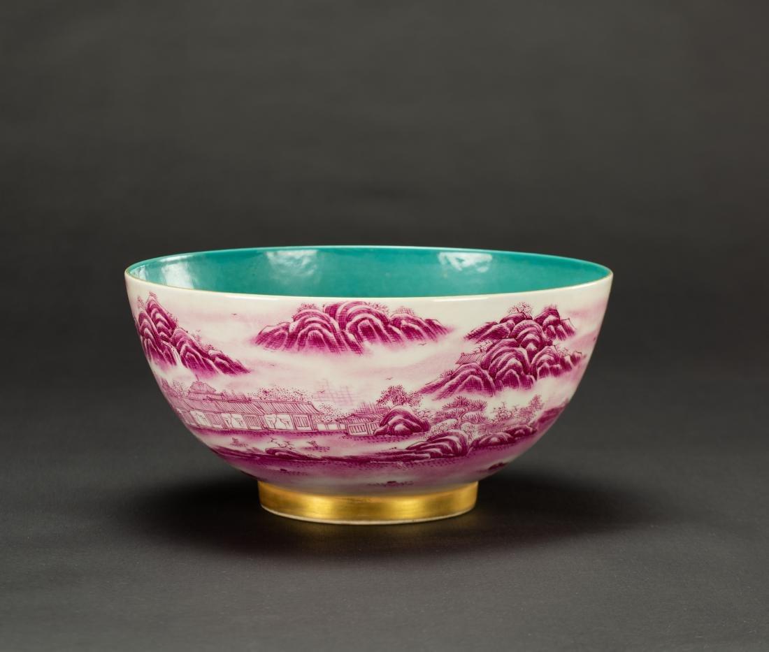 A Roug Glazed'Landscrape' Bowl'Da Qing Qainlong - 4