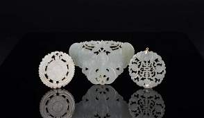 Late Qing/Republic-A Group Of Three White Jade Carved