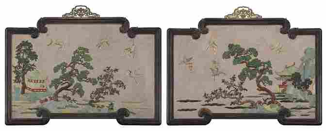 Qing - A Pair Of Cherry Wood Framed Embellished Lacquer