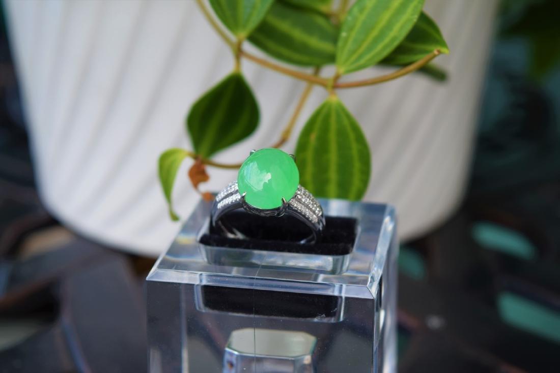 An Icy Apple Green Jadeite Diamond Ring