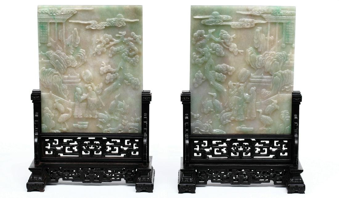 Mid Qing dynasty-a Pair Of Carved Jadeite table sCreens