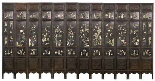 Qing-A Zitan Gems-Inlaid Tweleve-Panels Screen