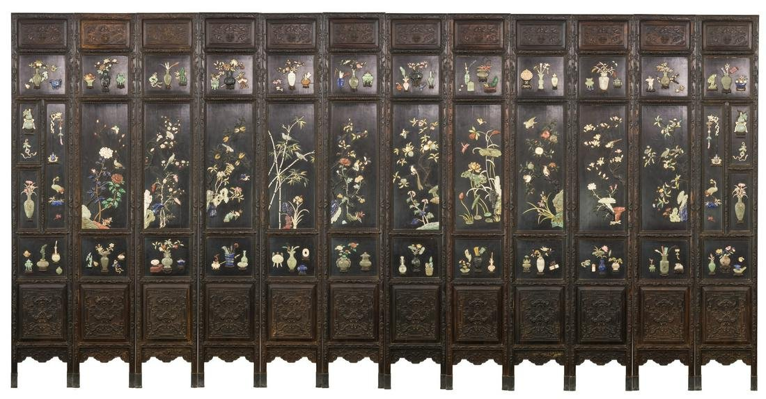 Qing-A Zitan Gems-Inlaid Tweleve-Panels Screen