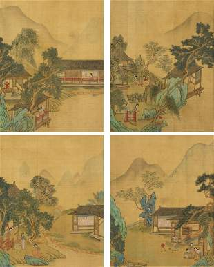 Attributed To: Qiu Yin (1497-1552) 4 Painting,