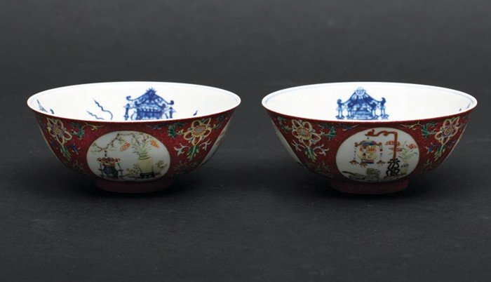 """3: 19th Century-A Pair of Famille-Rose Red-Ground """"Meda"""