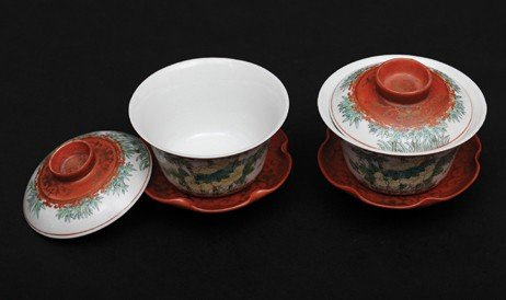 6: 19th Century-A Pair Of Famille-Rose Tea Cup With Cov