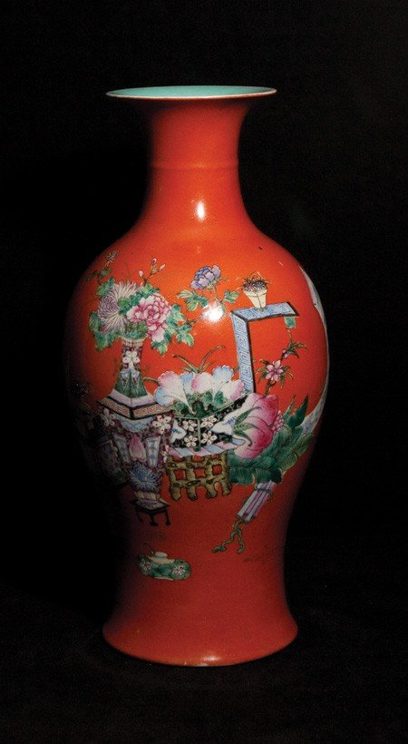 14: 19th Century-A Coral-Red Glazed Floral Vase