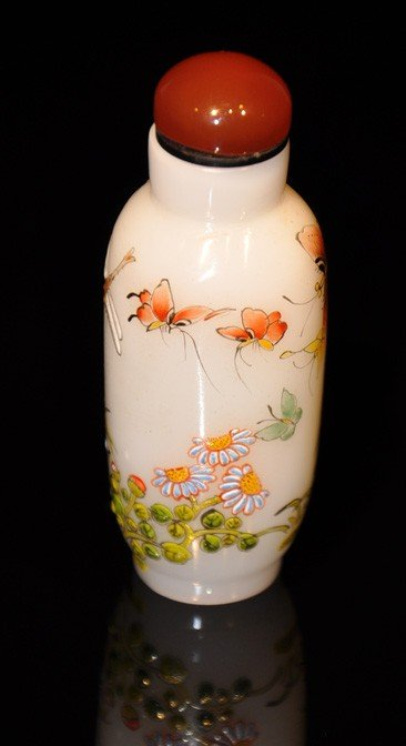 10: A famille-rose enamelled glass snuff bottle