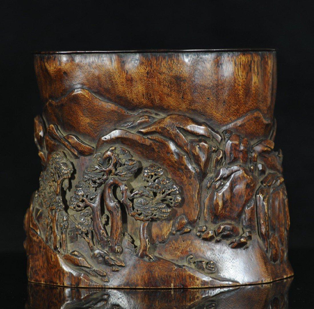 98: A large agalloch brush pot