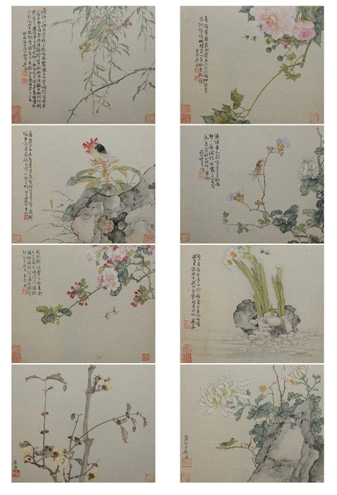 193: Ju Lian (1828-1904) Flowers and insects.Ink and co