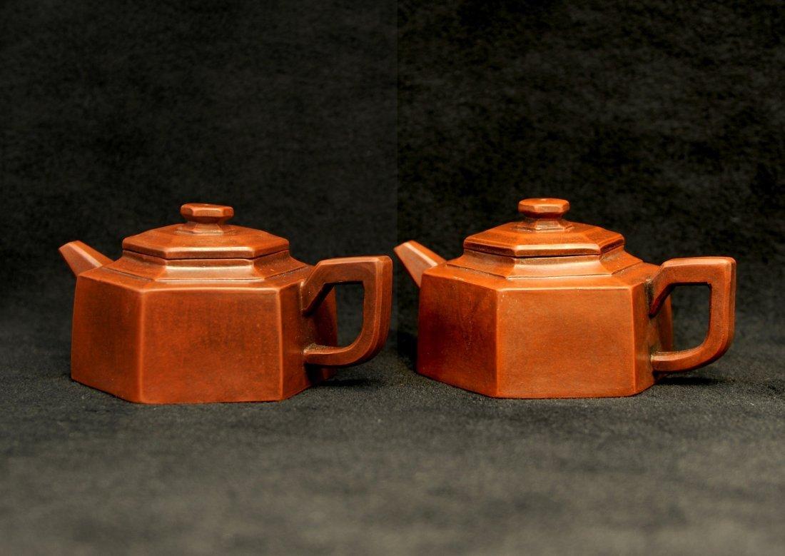 3024:Shi Xiaoma, A pair of Teapot in Hexagonal style