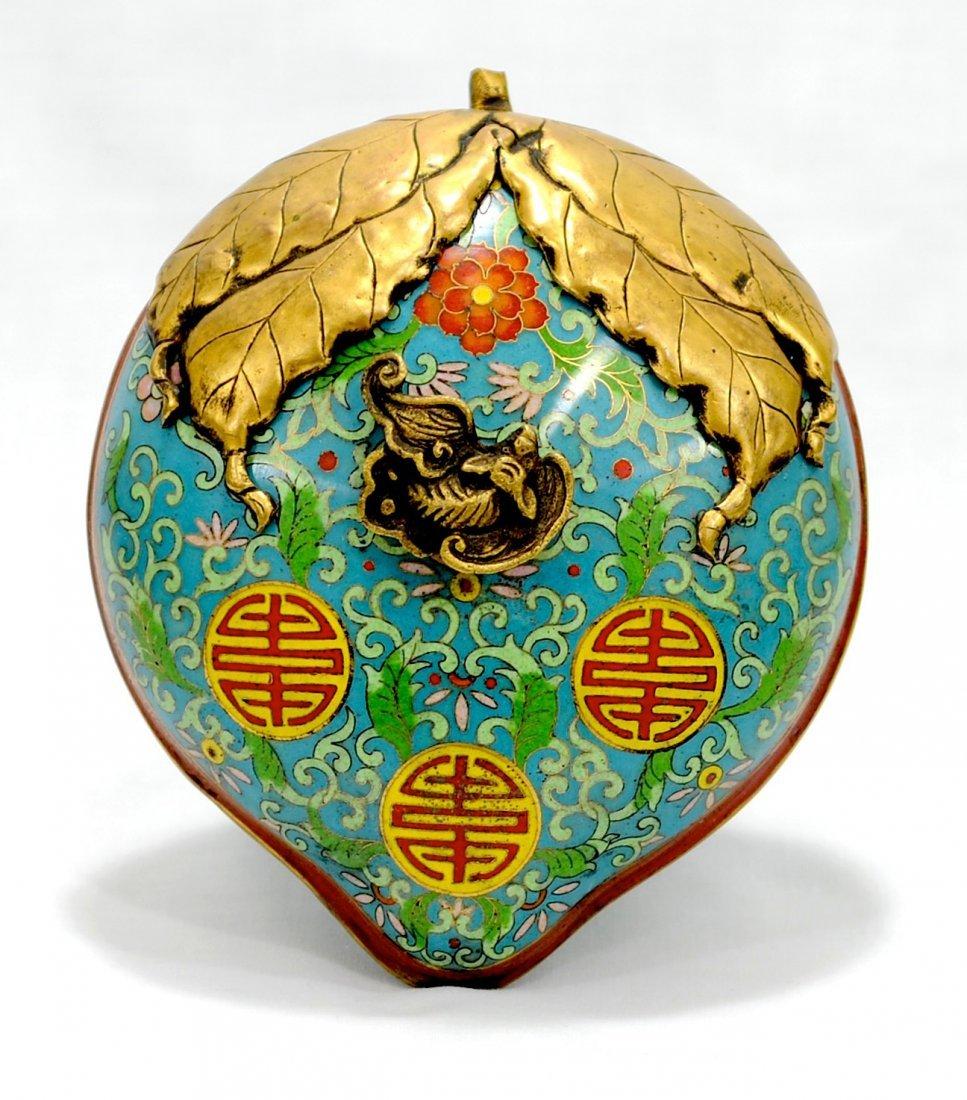 4006: Republic. a rare Cloisonne peach shaped cover box