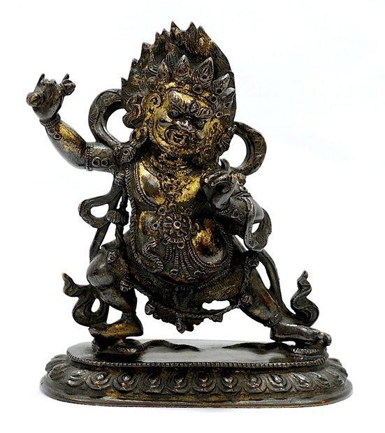 4015: 19th century. An unusual of parcel-gilt bronze fi