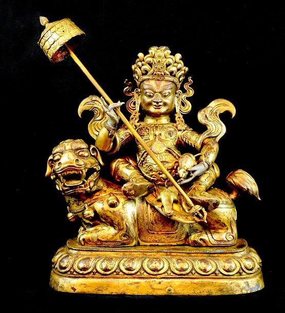 4020: 18th  Century. A large gilt-bronze jambhala