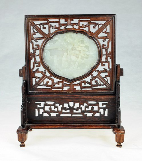 5003: A white jade 'Landscape' table screen