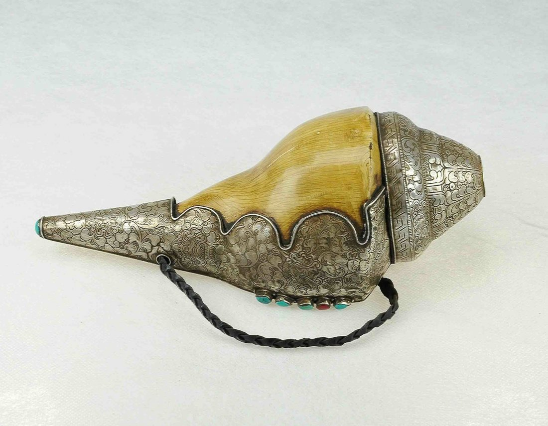 5007: Qing.A conch shell insert silver, Buddhism